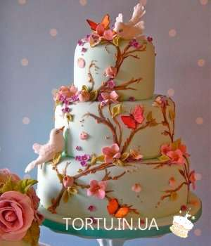 Торт на весілля з птахами