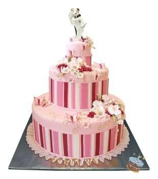 Рожевий весільний торт