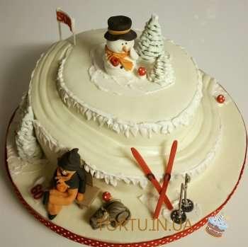Торт зі сніговиком