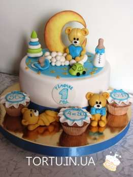 Торт на 1 рік з ведмедиками