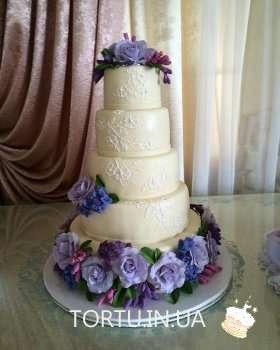 Весільний 5-ти ярусний торт