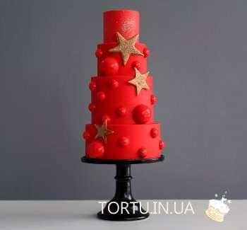 Червоний торт на Новий рік
